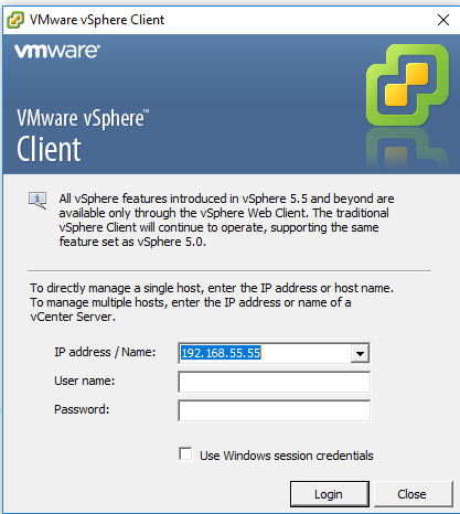 login vmware host